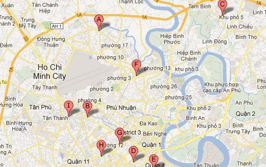 Google Map để xác định địa chỉ các shop quần áo