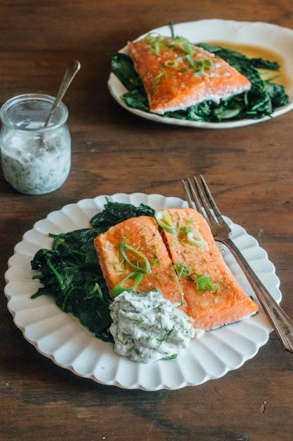 Slow Roasted Salmon with Herbed Yogurt (AIP, Paleo, low FODMAP, Whole 30)