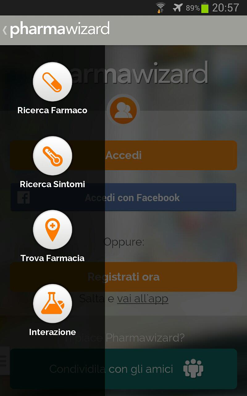 menu laterale a scomparsa con ulteriori opzioni/funzioni di pharmawizard