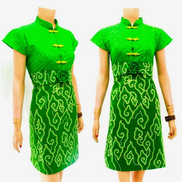 DB3764 Model Baju Dress Batik Modern Terbaru 2014