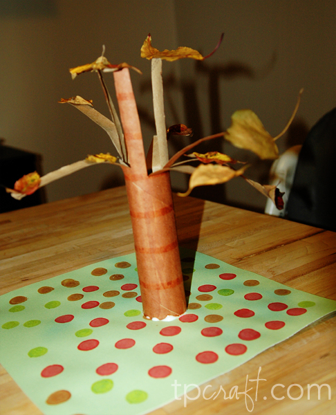 Paper towel roll fall tree for Crafts made out of paper towel rolls