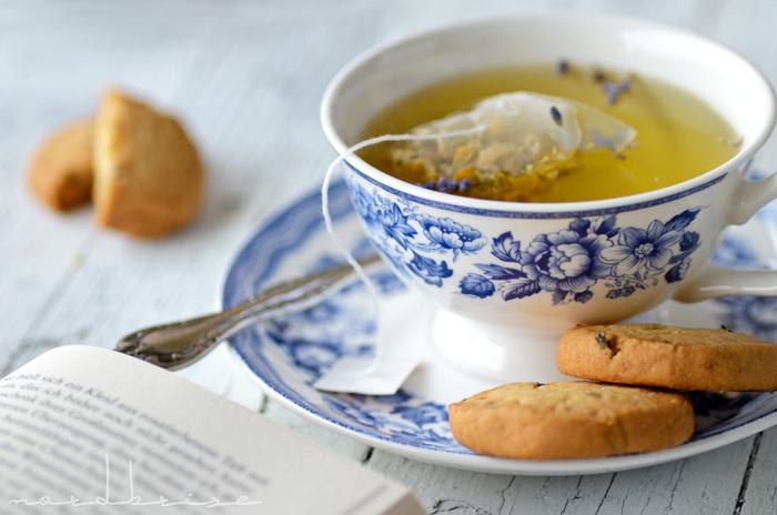 lavender lemon cookies tea cup chamomile book