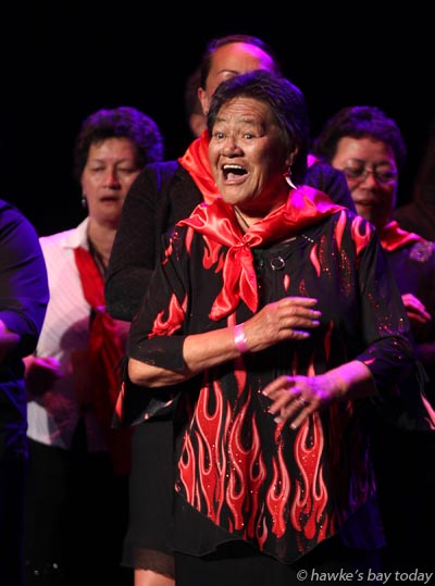Nancy Perata Heretaunga, Tuhourangi Ngati Wahiao, Rotorua, performing at the National Waiata Maori Music Awards, at the Hawke's Bay Opera House, Hastings photograph