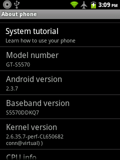 Screenshots of Mebitek's CyanogenMod 7.2 RC1 v1.2 Rom On Galaxy Mini.