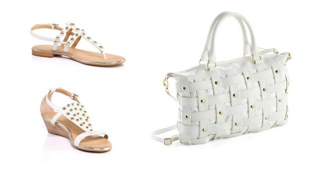 Sandalias blancas con tachuelas y bolso blanco tachuelas Fosco P/V 12