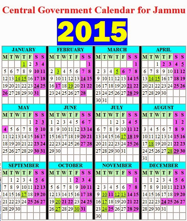 Calendar Jammu : Central government calendar for jammu with list of
