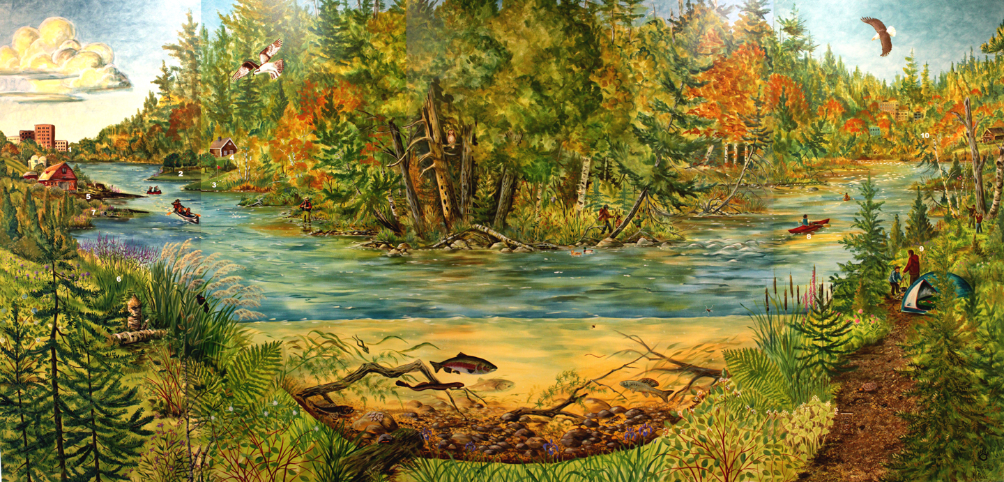 The rambling wren the boardman river mural is finished for Mural nature