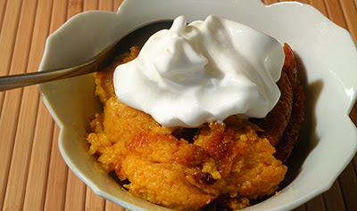 Closeup of Dish of Squash Pudding