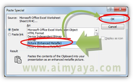 Gambar:  Memilih paste tabel sebagai gambar enhanced metafile (EMF)
