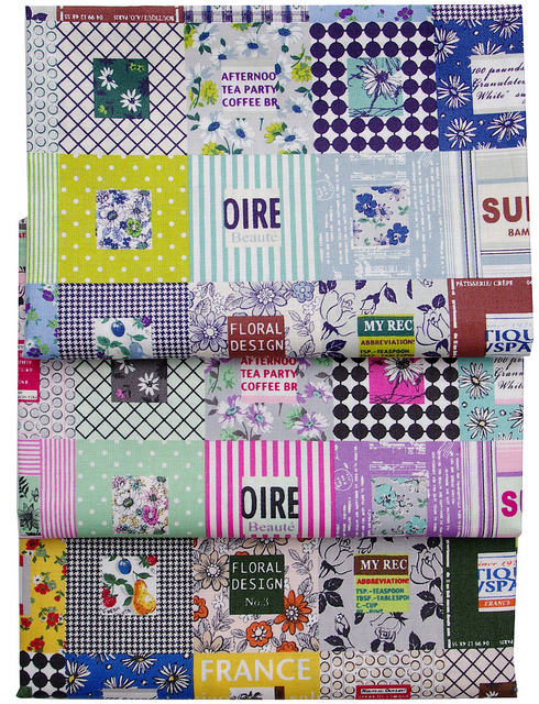 Colorful Square Patchwork in Grey, Pastel and Multi by Suzuko Koseki for Yuwa Fabrics