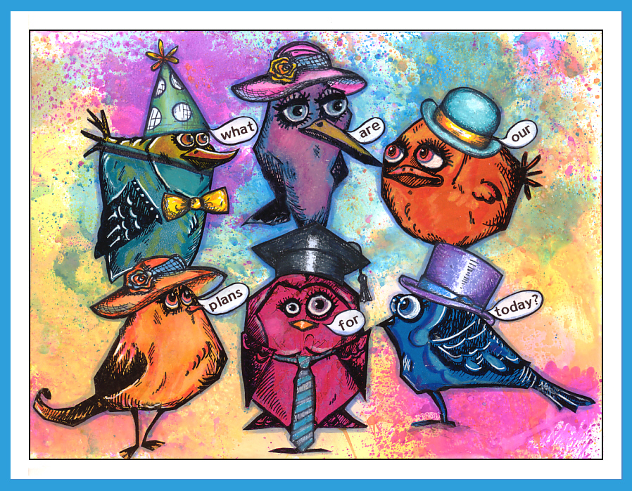 That Way I Stamp The Birds Or Other Motifson A Colorful Magazin Page And Cut Them Out After Added Some Colors With Neocolors II To Give