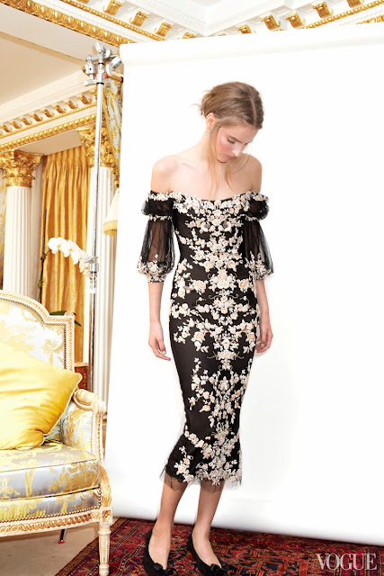 Fashion Inspiration - Tilda Lindstam wearing a Marchesa tulle draped-sleeve cocktail dress with floral embroidery.