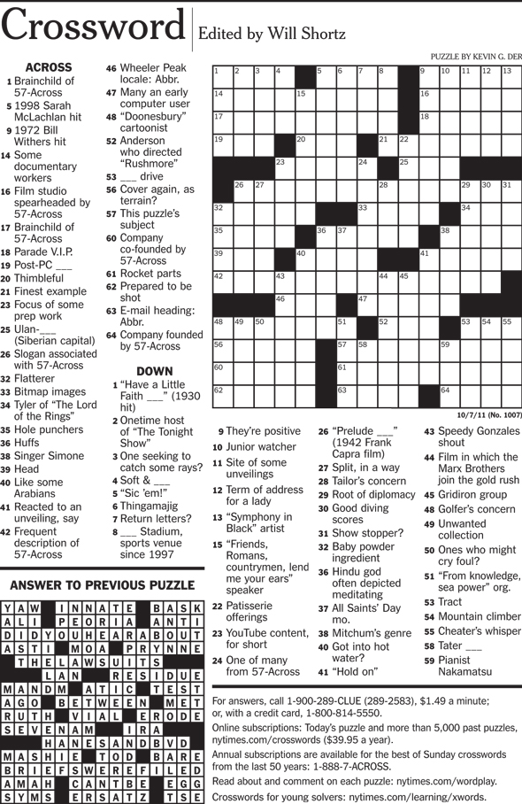 Steve Jobs, Apple, New York Times crossword