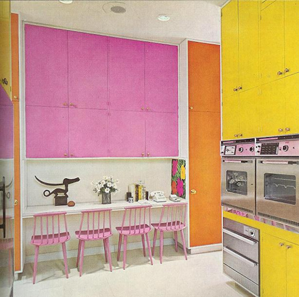 pink interior, pink interior design, inspirations, sixties