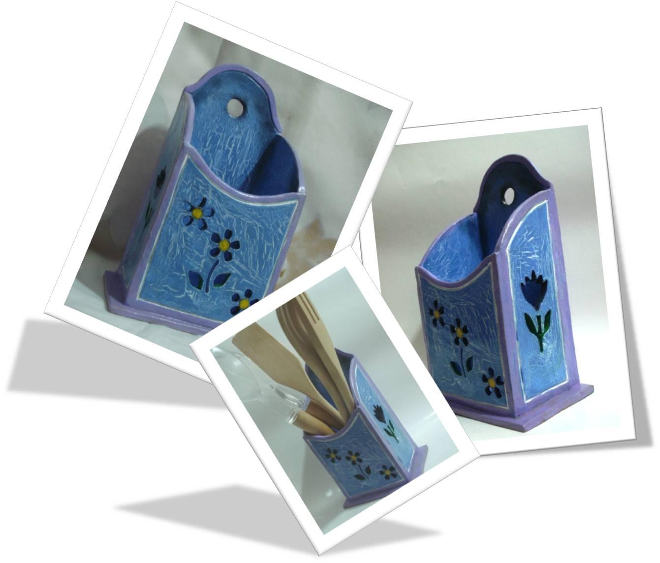 Artesan as luis porta cucharas azul for Porta cucharas cocina