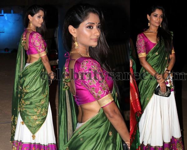 White Half Sari Pink Blouse