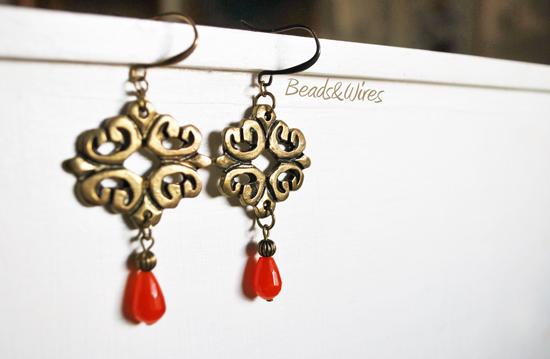 orecchino quarzo rosso
