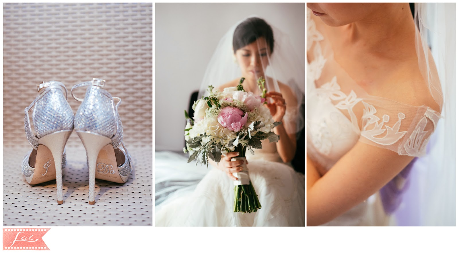 bride getting ready wedding shoes bouquet feelm