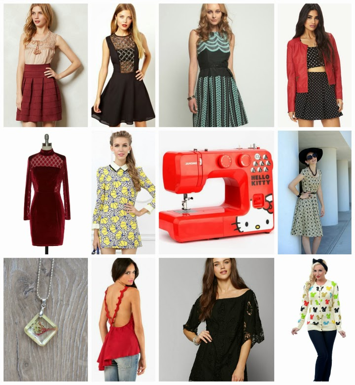 boxing day sales, boxing day wishlist, after christmas sales, holiday sales, anthropologie, eva franco, asos, unique vintage, shabby apple, urban outfitters, UO, Tobi, Sanrio, Hello Kitty sewing machine, Lace Affair, Forever 21, F21, OASAP, fashion, dresses, clothing, women's clothing, style, A Coin For the Well