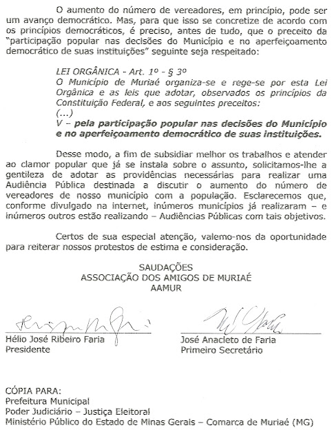 AAMUR solicita audiência pública sobre o aumento do número de vereadores
