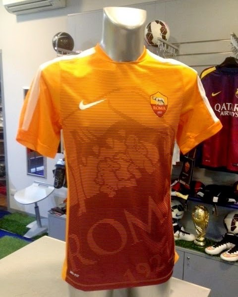 Baju Jersey As Roma Prematch atau Kaos Latihan Terbaru 2015 Warna Orange Kuning Nike Liga Italy Serie A
