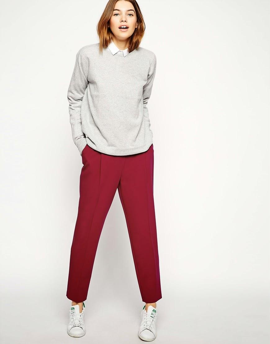 burgundy peg trousers