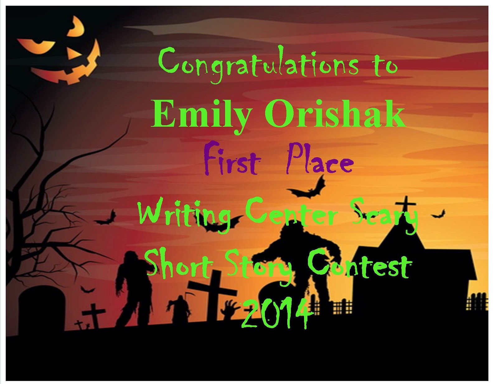 the writing center held a two sentence scary short story contest for halloween this year students posted their stories on the centers facebook page - Halloween Short Story Contest