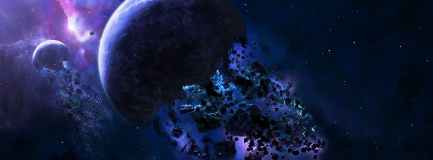Space asteroids facebook cover