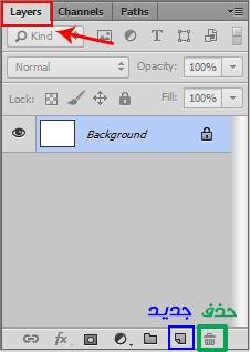 Photoshop CC شرح نافذة الطبقات إنشاء طبقة جديدة New