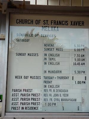 horario de misa en Malasia