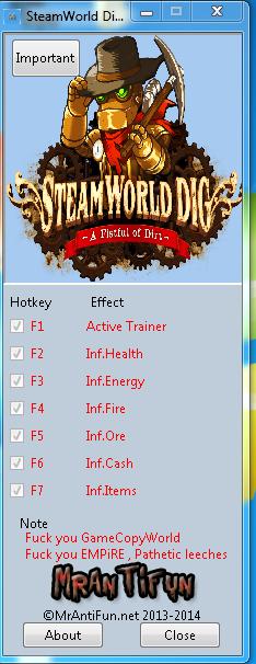 SteamWorld Dig V1.10 Trainer +6 MrAntiFun