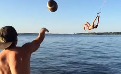 Backflip Football Catch into Lake