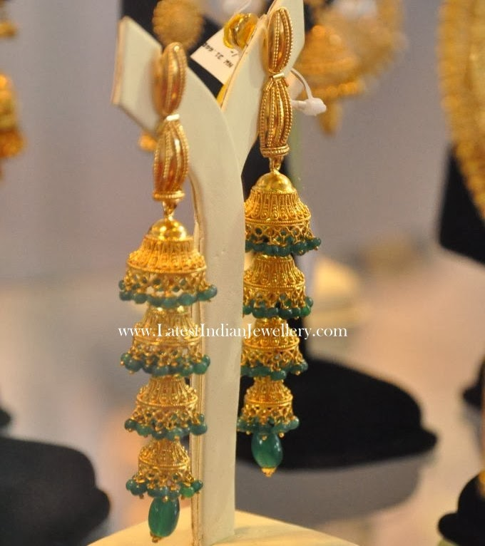 4 Step Long Gold Jhumkas