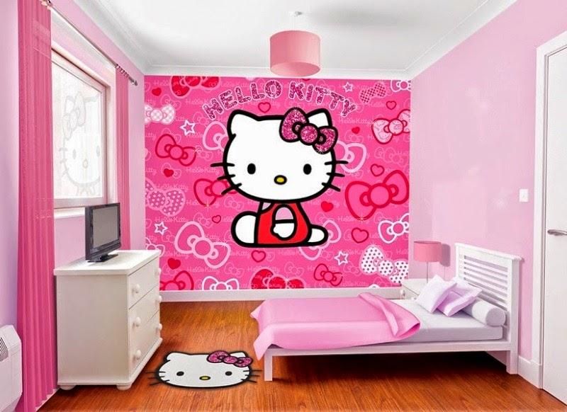 Wallpaper dinding hello kitty kamar tidur warna pink