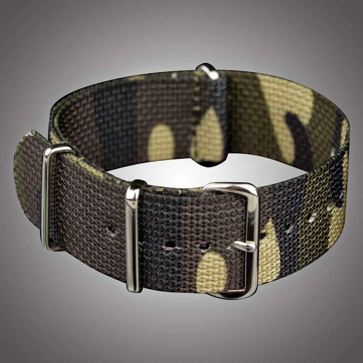 Heavy Duty 22mm Wood Land Nylon Soft Zulu Watch Band Strap +Silver Ring Buckle