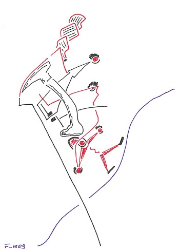 Zeichnung Bild / painting picture : entlang der Linie / along the line