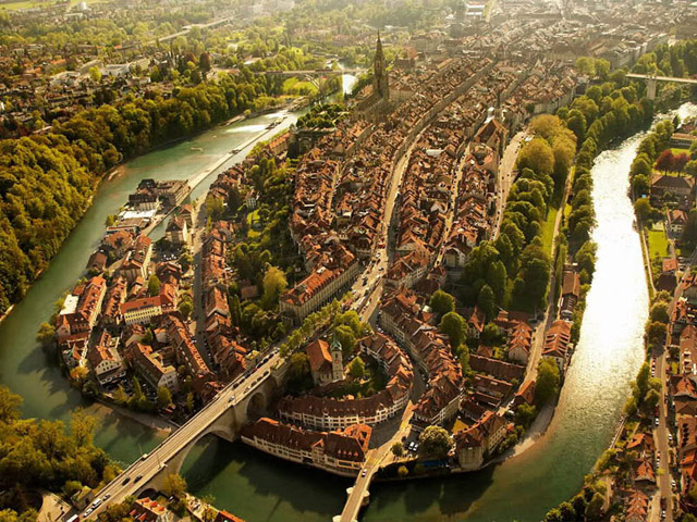 Bern Switzerland Aerial From Above