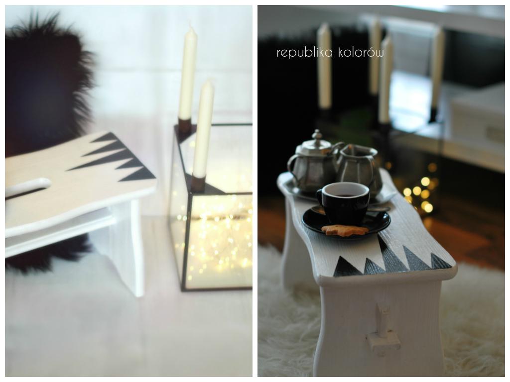 mini stolik biało czarny