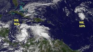Atlantik, Atlantische Hurrikansaison, aktuell, Hurrikansaison 2012, Oktober, 2012, Sandy, Tony, Jamaika, Kuba, Bahamas, Satellitenbild Satellitenbilder, Vorhersage Forecast Prognose,
