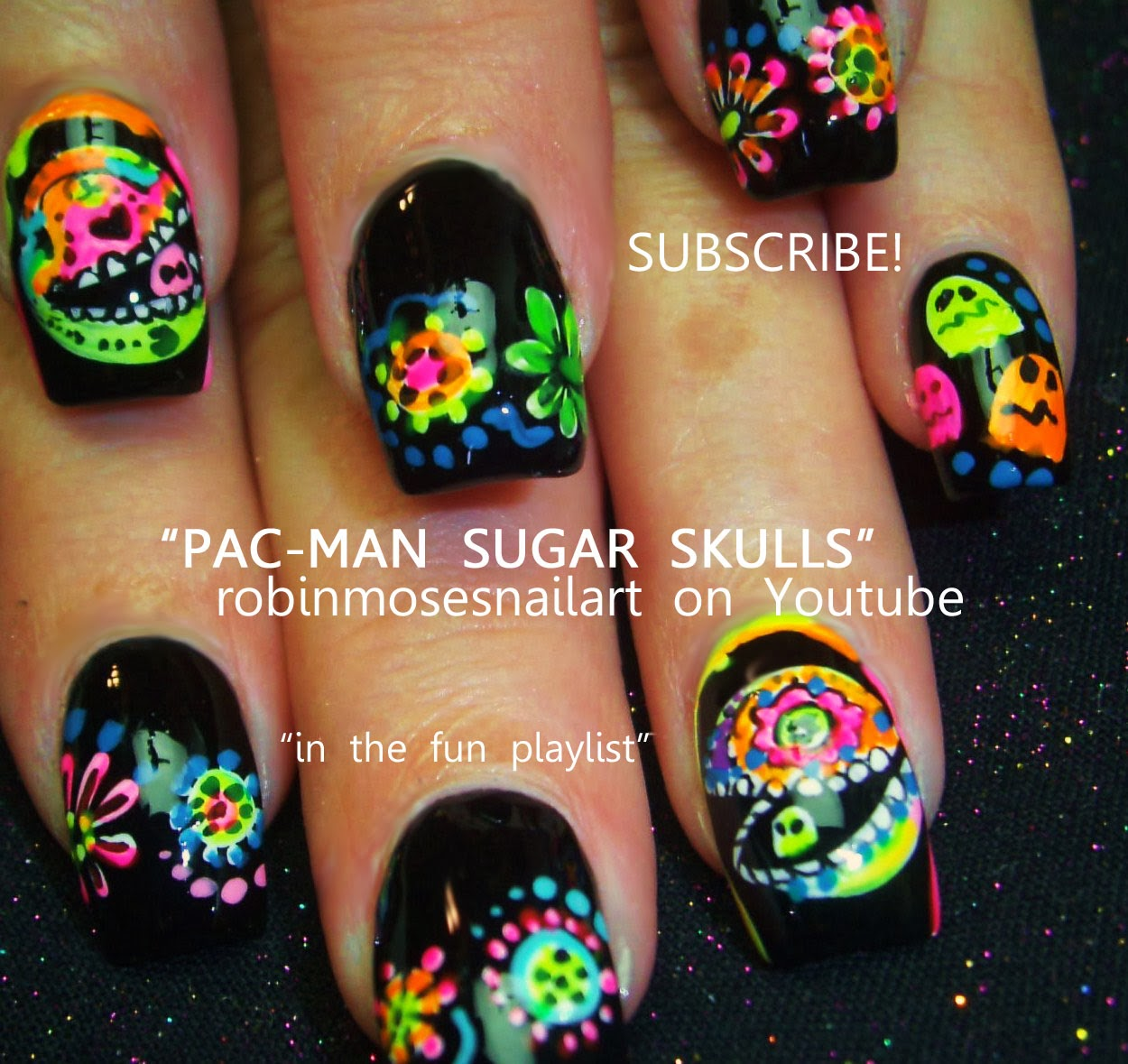 Robin moses nail art halloween nails skull nails day of the neon pacman nails prinsesfo Image collections