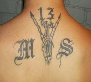 A MS-13 gang tattoo.