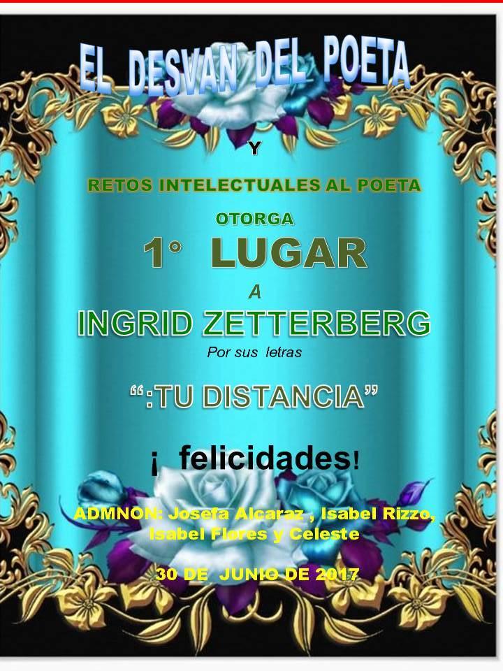"""Diploma de Primer Puesto por mi poema """"Tu distancia"""" que  gané en el foro El Desván del poeta"""
