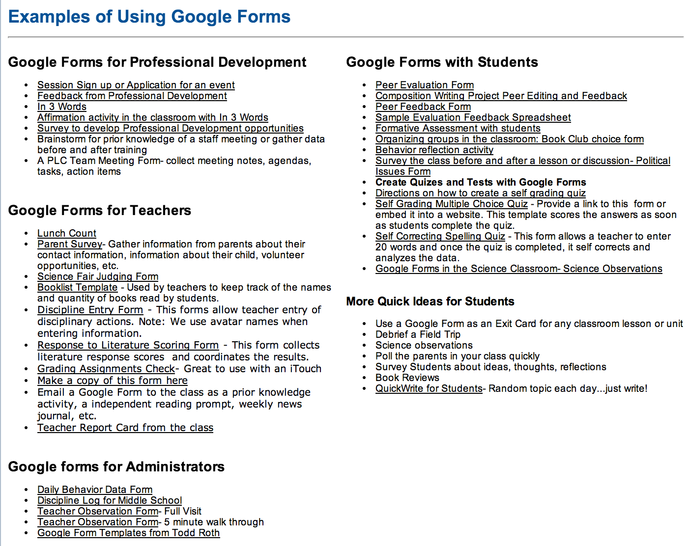 Tons of google forms for teachers administrators and students screenshot from httpssitesgooglesitemydigitalfootprintinnovative ideas for using google forms pronofoot35fo Choice Image