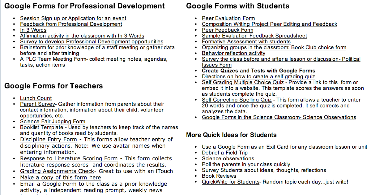 Tons of Google Forms for Teachers, Administrators and Students