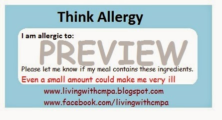 Allergy cards, eat out dairy free, soya free, allergy free using these allergy cards
