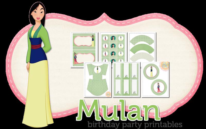 Imprimible gratis de Mulán - Fiesta de princesas
