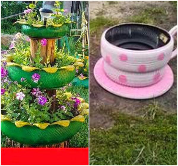 11 formas geniales de reutilizar las llantas ecolog a for Ranas decoracion jardin