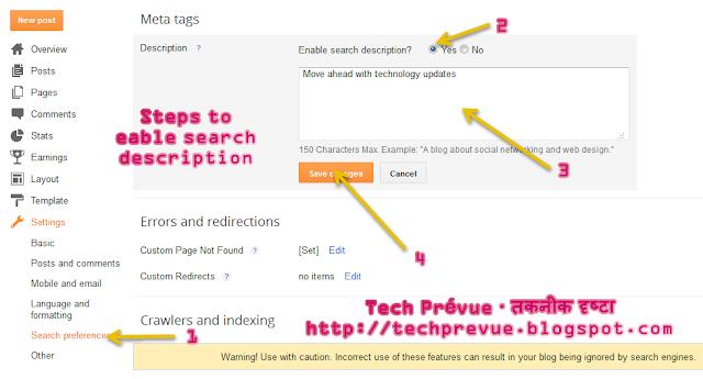 Enable Search Descripiton in Blogger