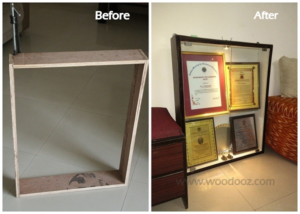 Before and after - Plywood to functional shelf