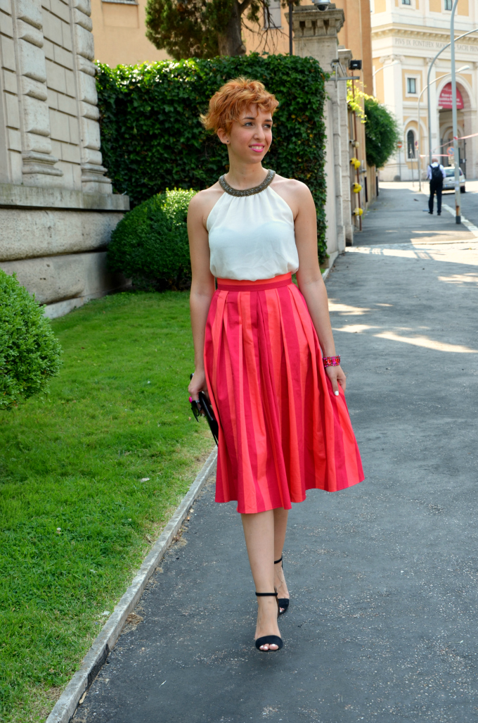 Coffe Break - Lifestyle Blog Outfit - Gonna a righe fluo